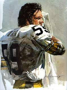 Portrait of Jack Ham, Pittsburgh Steelers by artist Merv Corning 1977