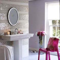 Picture for 70 Feminine Bathroom Design Ideas - Discover home design ideas, furniture, browse photos and plan projects at HG Design Ideas - connecting homeowners with the latest trends in home design & remodeling Decor, Striped Tile, Sweet Home, Interior, Feminine Bathroom, Girls Bathroom, Beautiful Bathrooms, Chic Bathrooms, Home Decor