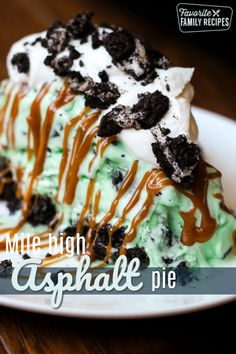This Mile High Asphalt Pie (Winger\'s Copycat) is AMAZING! The chocolate mint ice cream drizzled with caramel and sprinkled with cookies is to die for! #asphaltpie #pie #mintchocolatechip #icecream #frozendessert #oreo #oreodessert #dessert #FavoriteFamilyRecipes #favfamilyrecipes #FavoriteRecipes #FamilyRecipes #recipes #recipe #food #cooking #HomeMade #RecipeIdeas  via Favorite Family Recipes