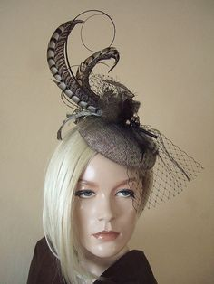 Gold Brown Dark Gold Fascinator Lady Amherst by Dress2ImpressEtsy