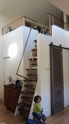 Great Stairs going to the Loft! copper loft railing
