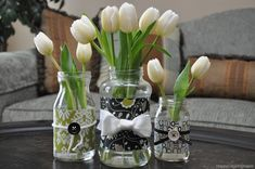Glass jars as vases!