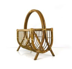Vintage Bamboo and Rattan Magazine Rack by Reconstitutions on Etsy