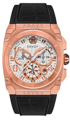 SAVOY WATCHES.  ICON MIDWAY CHRONOGRAPH ROSE GOLD CASE BLACK STRAP. $1,050.00 Swiss Made Watches, Modern Watches, Chronograph, Rose Gold, Diamond, Shopping, Accessories, Black, Clock