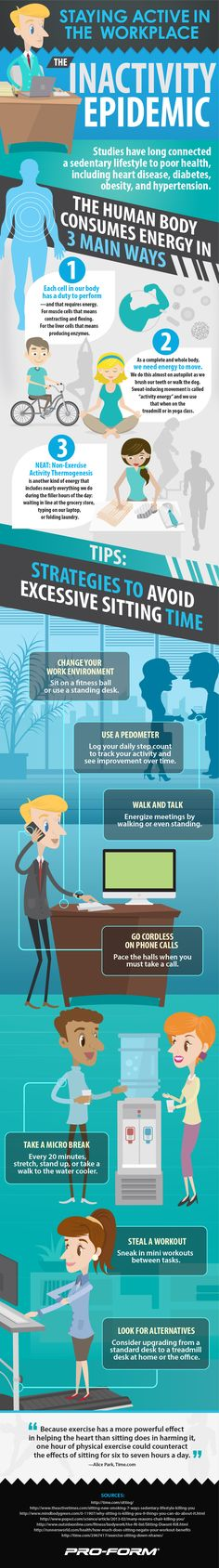 The Inactivity Epidemic: How to Activate Your Workplace #infographic #Health #Fitness