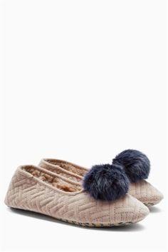 4e82f52a3d Mink Velour Pom Ballerina Slippers Ballerina Slippers, Uk Online, Mink,  Stuff To Buy
