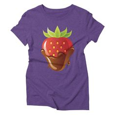 strawberry-3 womens triblend-t-shirt in tri-purple