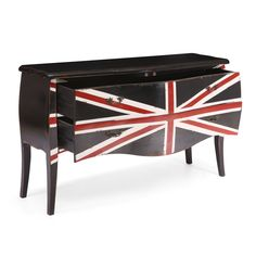 If you have a passion for all things British, then this Union Jack distressed cabinet is an ideal addition to your home. It has four drawers, so there's plenty of storage space, and a distressed black finish that goes well with traditional decor.