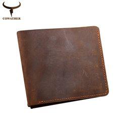 Cowather crazy horse leather wallets men vintage genuine leather wallet cho nam giới cowboy top da mỏng để đặt miễn phí vận chuyển