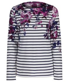 Joules Harbour Print Top in Cream Floral Stripe