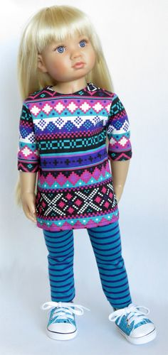 """For Kidz 'n' Cats, Magic Attic, and Other Slim 18"""" Dolls. Multi-Colored Southwest Tribal Tunic and Striped Leggings"""