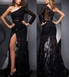 2013 One sleeve black lace prom dress