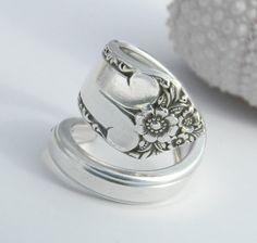 Silver Spoon Ring Starlight 1950 by CaliforniaSpoonRings on Etsy, $21.50