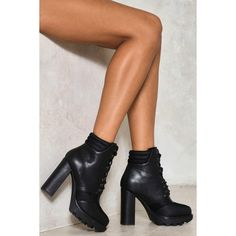 Nasty Gal Graveyard Shift Vegan Leather Boot ($70) ❤ liked on Polyvore featuring shoes, boots, black, black block heel boots, laced up boots, black laced boots, faux leather lace up boots and block heel boots