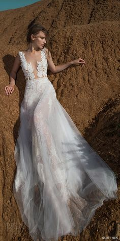 nurit hen 2016 sleeveless deep vneck sheath wedding dress (sw6) mv sheer overskirt