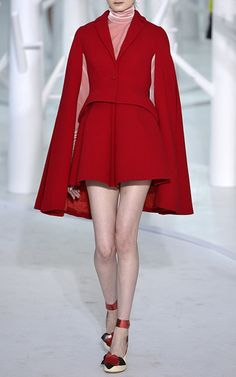 Pleated Double Faced Wool Crepe Miniskirt  by DELPOZO Now Available on Moda Operandi