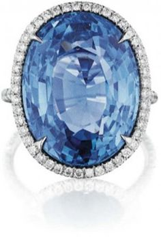 205: An Impressive Ceylon Sapphire and Diamond Ring. : Lot 205