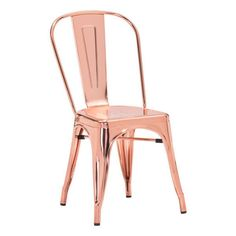 Dreux Stackable Chrome Rose Gold Steel Side Chair (Set of ❤ Design Lab MN Colored Dining Chairs, Metal Dining Chairs, Dining Chair Set, Side Chairs, Bar Chairs, Gold Chairs, Desk Chairs, Dining Area, Rose Gold Room Decor