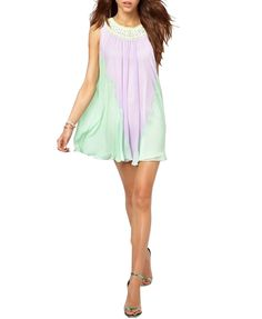 1e87b1074ef8 Colorblock Pleated Chiffon Tank Dress from chicnova