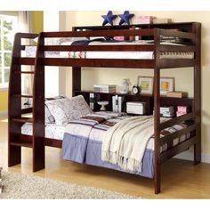 Shop Furniture of America Camino Dark Walnut Twin Over Twin Bunk Bed with great price, The Classy Home Furniture has the best selection of Bunk Beds to choose from Trundle Bed With Storage, Bunk Beds With Drawers, Bunk Bed With Desk, Full Bunk Beds, Kids Bunk Beds, Loft Beds, Solid Wood Bunk Beds, Modern Bunk Beds, Kids Toddler Bed