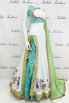 Gorgeous White/Teal Flap Chaniya Choli With Beautiful Color Combination Indian Fashion Dresses, Indian Bridal Outfits, Indian Gowns Dresses, Dress Indian Style, Indian Designer Outfits, Choli Designs, Fancy Blouse Designs, Lehenga Designs, Dress Designs