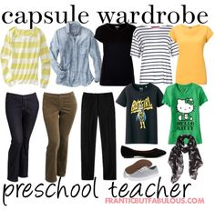 This #capsulewardrobe for a preschool teacher is all about comfort, versatility--and washability!
