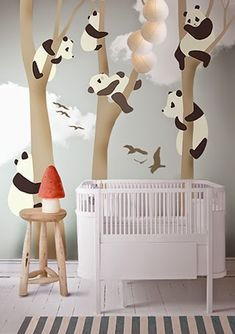 little hands panda mural wallpaper adorable for a kids room or nursery; OK CAN WE START A GROUP BABY BOARD please @alir1104