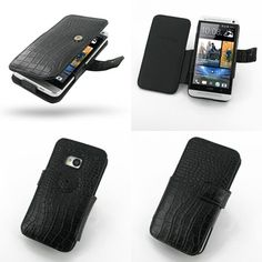 PDair Leather Case for The New HTC One 801e 801s - Book Type (Black/Crocodile Pattern)