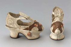 Pair of children's shoes, or sample shoes, Italian, 1610-20. Museum of Fine Arts, Boston.