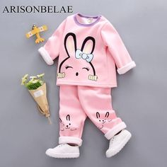 Baby Girl Suit Sets Children's Clothing Sets Thermal Underwear Animal Rabbit Pattern Winter 2018 New Brand Cute Kids Clothe Baby Girl Pajamas, Kids Pajamas, Pajamas Winter, Kids Outfits Girls, Boy Outfits, Baby Girl Tracksuits, Thermal Clothes, Baby Kids, Baby Boy
