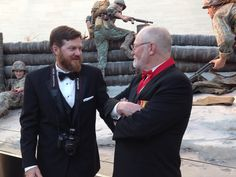 The man on the left is Daniel Folz, son-in-law of BRAVO! Marine Michael O'Hara. Daniel took great photos of the Marine Corps Heritage Foundation's 2016 Awards Ceremony. Here, Daniel visits with BRAVO! Marine and co-producer Ken Rodgers in front of the Tarawa Invasion diorama in the Leatherneck Gallery of the National Museum of the Marine Corps. Photo courtesy of Betty Rodgers #BRAVO! #USMC