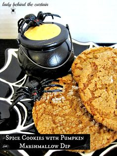 Spice Cookies with Pumpkin Marshmallow Dip - Lady Behind The Curtain  #halloween
