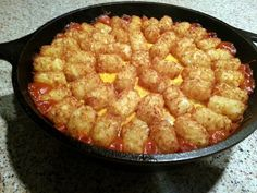 """Sloppy Joe Tater Tot Casserole! 4.54 stars, 117 reviews. """"awesome recipes!"""" @allthecooks #recipe #easy #casserole #hot #quick #dinner"""