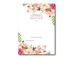 Baby Dedication Invitations Free Template Best Of Free Printable Baptism Floral Invitation Template Free Invitation Cards, Invitation Layout, Free Printable Invitations Templates, Flower Invitation, Birthday Invitation Templates, Templates Free, Invitation Ideas, Invites, Free Printables