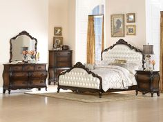Home Elegance 5 pc bayard park collection dark brown cherry finish wood with pearl faux alligator tufted headboard bedroom set Girls Bedroom Sets, Master Bedroom Set, King Bedroom Sets, Queen Bedroom, Queen Beds, Childrens Bedroom, Upholstered Bedroom Set, Bedroom Furniture Sets, Furniture Decor