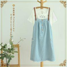 Yếm váy Jean cúc ngực phong cách Nhật Bản