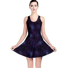 6579eb623b Blue Pattern Constellations of Hearts on Night Reversible Skater Dress at  Amazon Women s Clothing store