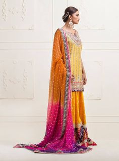 Picture of Yellow knee-length raw silk dress