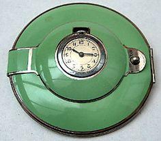 Art Deco Green Enamel Powder Compact with Clock                                                                                                                                                      More