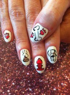 Dog Nail Art, CND Shellac.