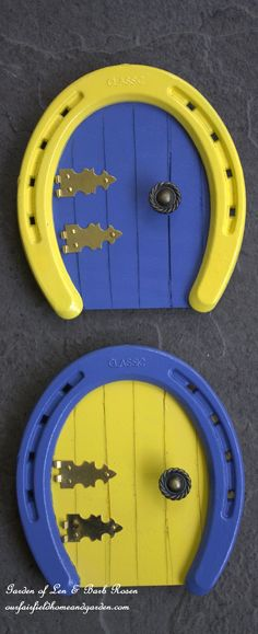 Colorful Horseshoe Fairy Doors ~ great for a fairy garden or on the baseboard in a little one's room! Easy DIY at http://ourfairfieldhomeandgarden.com/diy-horseshoe-fairy-door/
