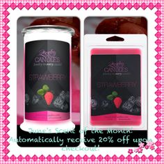 June's Scent of the Month, Strawberry! Automatically receive 20% off upon checkout! Order yours at www.jewelryincandles.com/store/sara-anderson