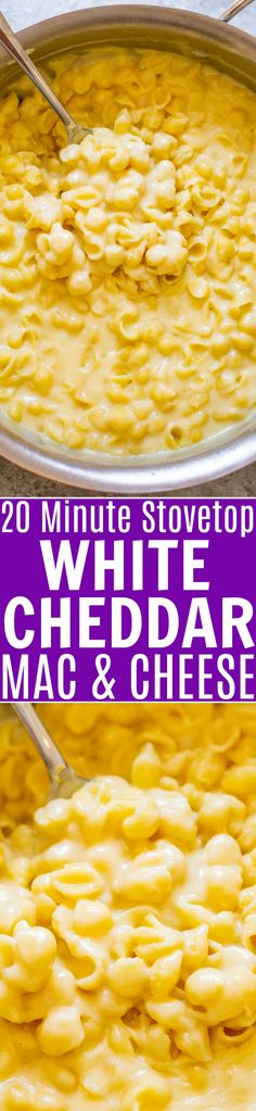 Stovetop White Cheddar Mac and Cheese – Almost as FAST and EASY as using a box but tastes a million times BETTER! So creamy, ridiculously cheesy, and the extra sharp white cheddar cheese gives this mac and cheese so much FLAVOR! Cheddar Mac And Cheese, White Cheddar, Love Food, A Food, Vegetarian Recipes, Cooking Recipes, Easy Family Dinners, Easy Dinners, Le Diner