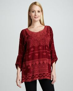 Johnny Was Collection Hannah Lacy Tunic $228  The Hannah tunic adds an unpretentious beauty to your casual looks.      Georgette accented with embroidery and lace in your choice of color.     Round neckline.     Long sleeves; may be worn tabbed.     Front patch pockets.     Loose fit.     Hems falls to thigh.     Rayon.