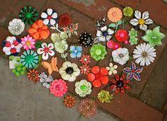 vintage enamel flower pins brooches