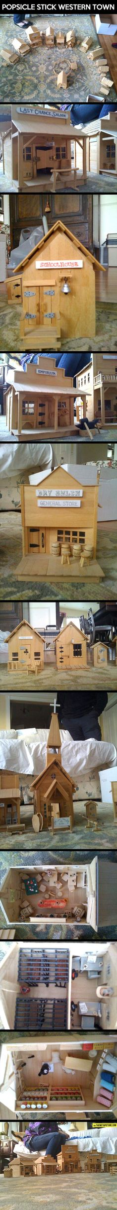Miniature western town of Popsicle sticks. I thought it would make a great Xmas village