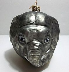 Vintage Blown Glass ELEPHANT Christmas Tree Ornament Hand Painted
