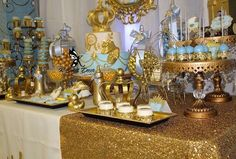 Glittery gold dessert table at a prince baby shower party! See more party… Fiesta Baby Shower, Baby Shower Games, Baby Shower Parties, Baby Boy Shower, Shower Party, Little Prince Party, Prince Birthday, Royal Baby Showers, Gold Birthday Party