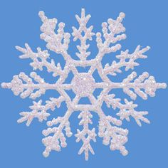 Glitter Snowflake Ornaments: 4 inch Pearlized White Snowflakes