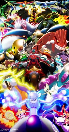 Pokemon Legendaries, all amazing but, ui am questioning the one in the very front's pose. how does one not know Mewtwo. I am also questioning it/the pose. Pokemon Legal, Guzma Pokemon, Pokemon Poster, Pokemon Fan Art, Pokemon Fusion, Easy Pokemon, Pokemon Party, Pokemon Birthday, Pokemon Comics